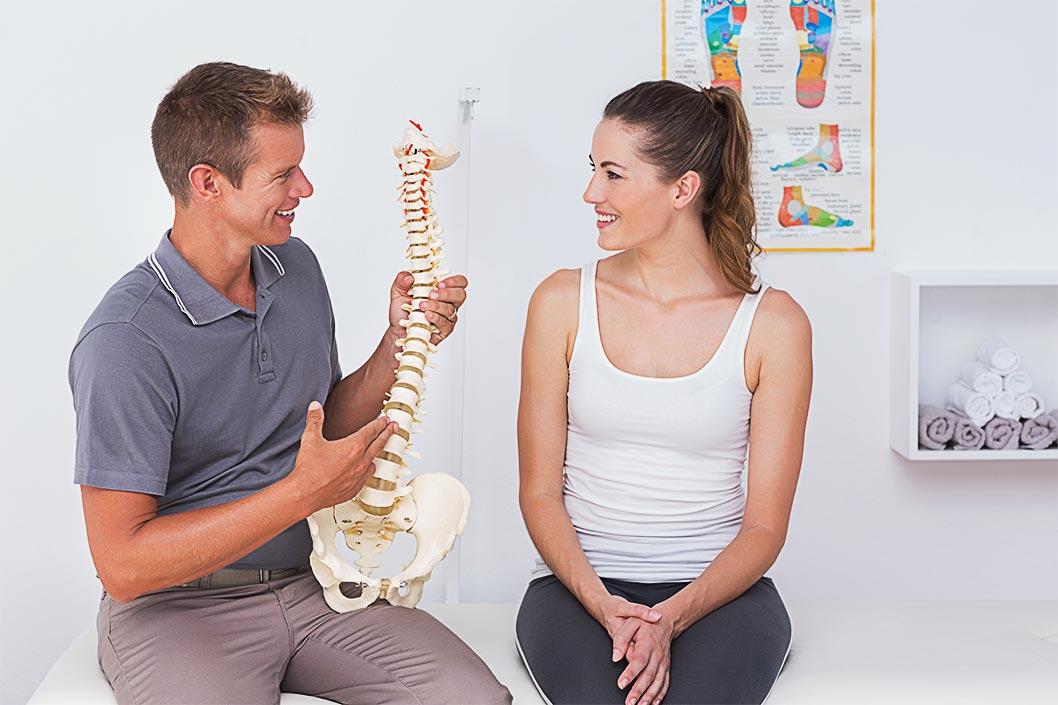 doctor explaining spine